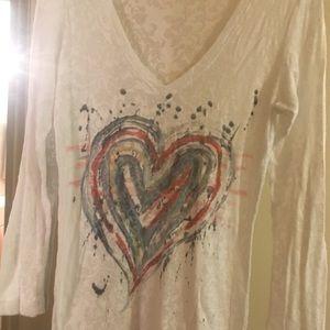 White Heart Long Sleeved Top